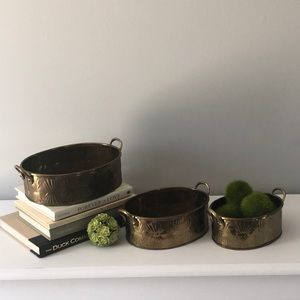 Vintage Brass Set Oval Planters with Handles